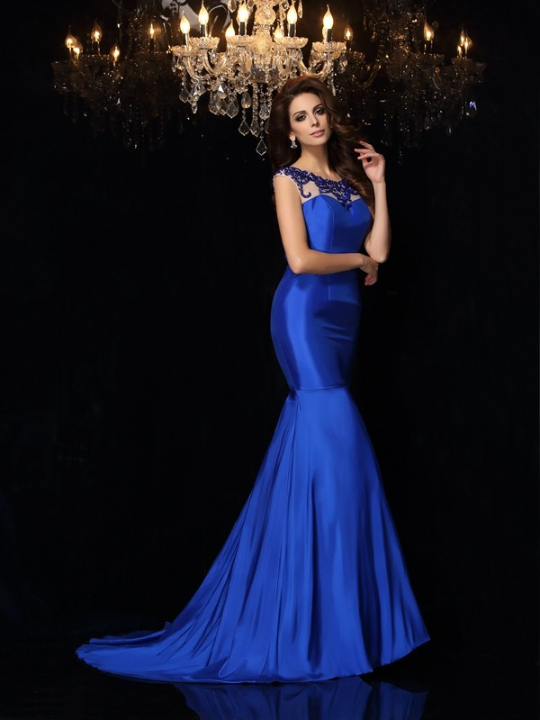 Mermaid Taffeta Bateau Sleeveless Court Train With Applique Dresses