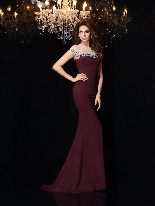 Mermaid Elastic Woven Satin High Neck Sleeveless Court Train With Applique Dresses