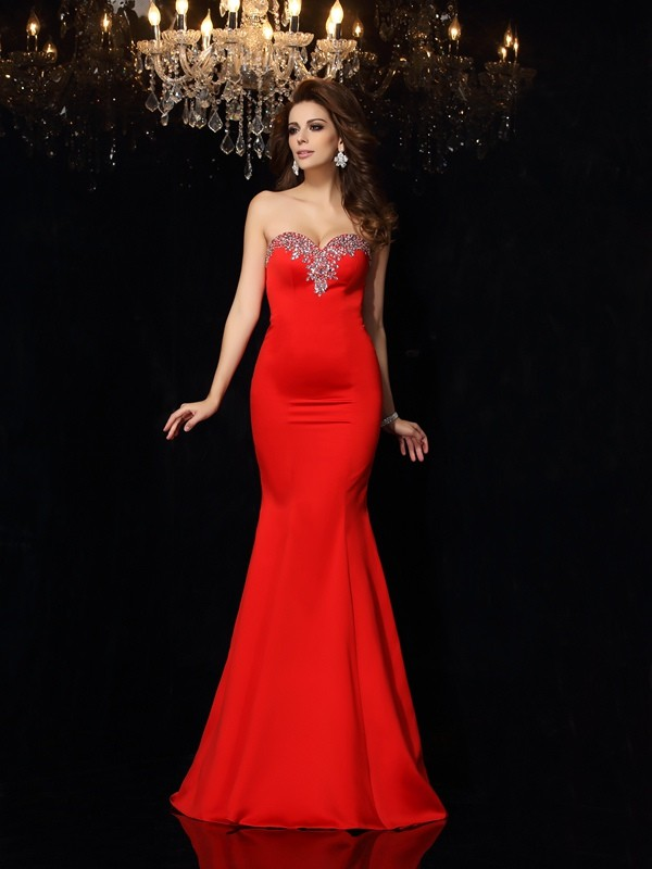 Sheath Satin Sweetheart Sleeveless Court Train With Beading Dresses