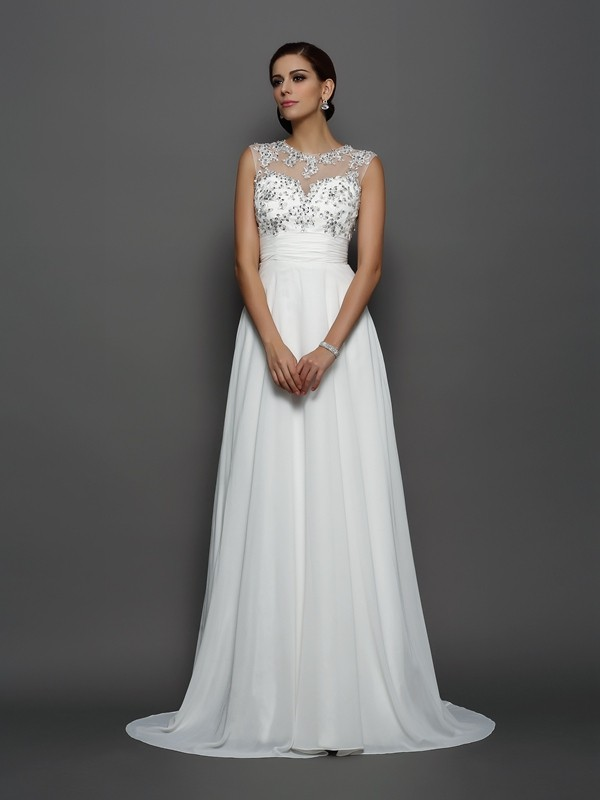 A-Line Chiffon Bateau Sleeveless Court Train With Applique Dresses