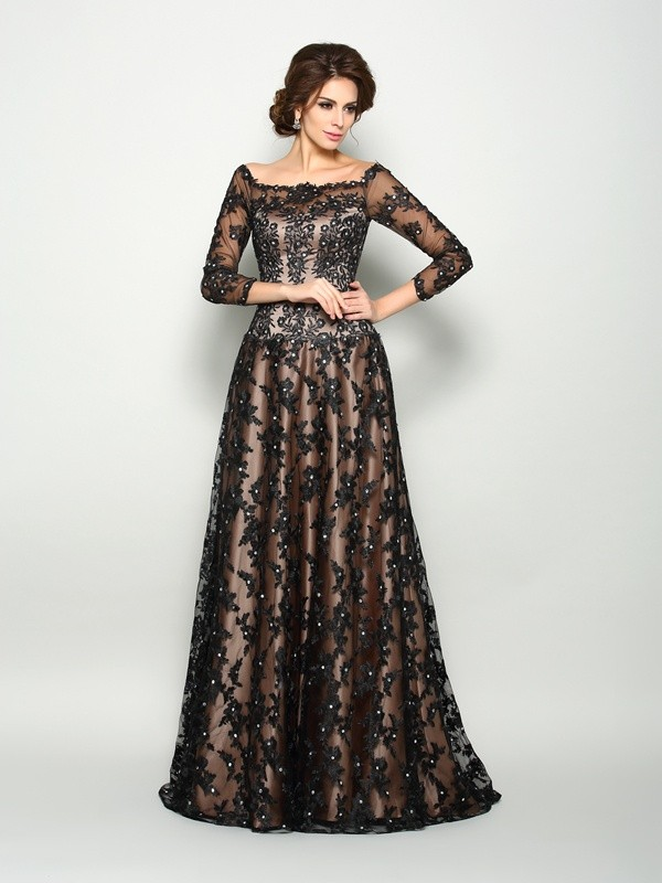 A-Line Satin Off-the-Shoulder 3/4 Sleeves Court Train With Lace Mother of the Bride Dresses