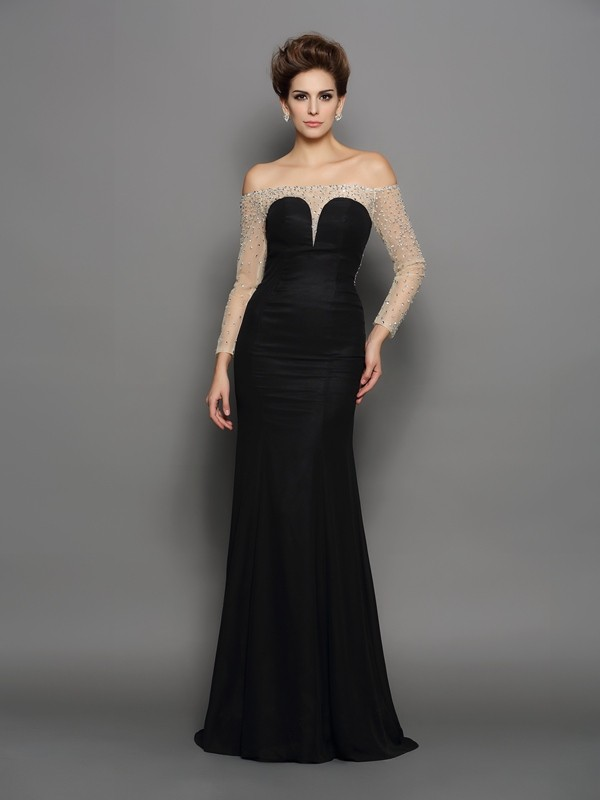 Mermaid Chiffon Off-the-Shoulder Long Sleeves Sweep/Brush Train With Beading Dresses