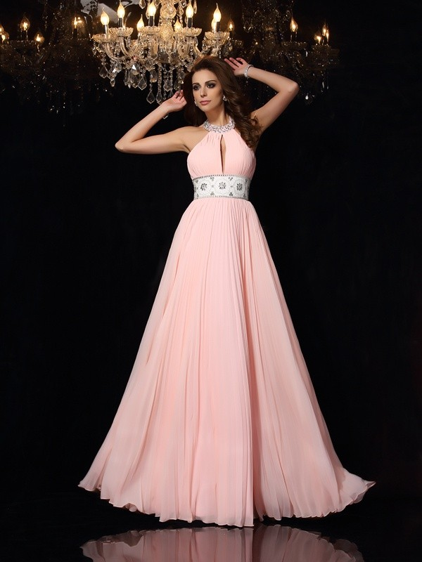 A-Line Chiffon High Neck Sleeveless Floor-Length With Pleats Dresses