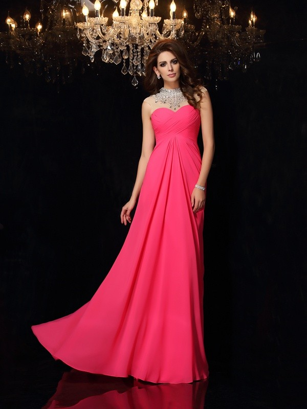 A-Line Chiffon High Neck Sleeveless Sweep/Brush Train With Ruched Dresses
