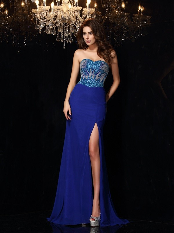 Sheath Chiffon Sweetheart Sleeveless Sweep/Brush Train With Beading Dresses