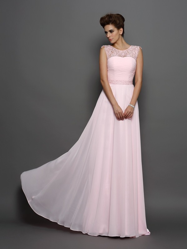 A-Line Chiffon Scoop Sleeveless Sweep/Brush Train With Beading Dresses