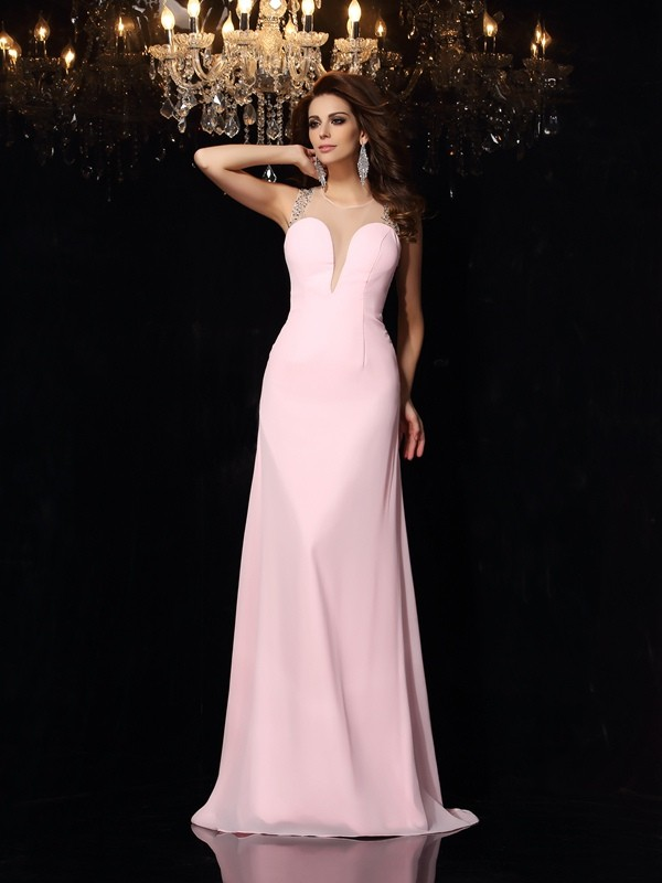 Mermaid Chiffon Scoop Sleeveless Court Train With Beading Dresses