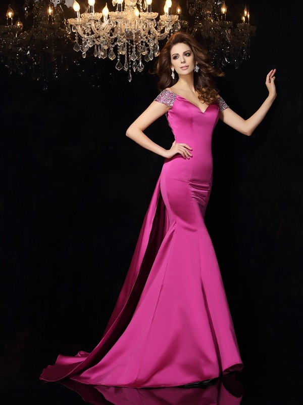 Mermaid Satin Off-the-Shoulder Sleeveless Court Train With Beading Dresses