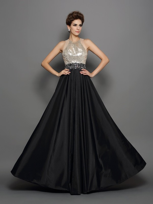 A-Line Taffeta High Neck Sleeveless Floor-Length With Sequin Dresses