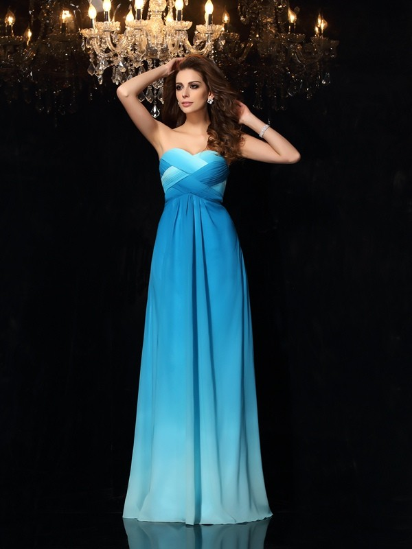 A-Line Chiffon Sweetheart Sleeveless Floor-Length With Ruched Dresses