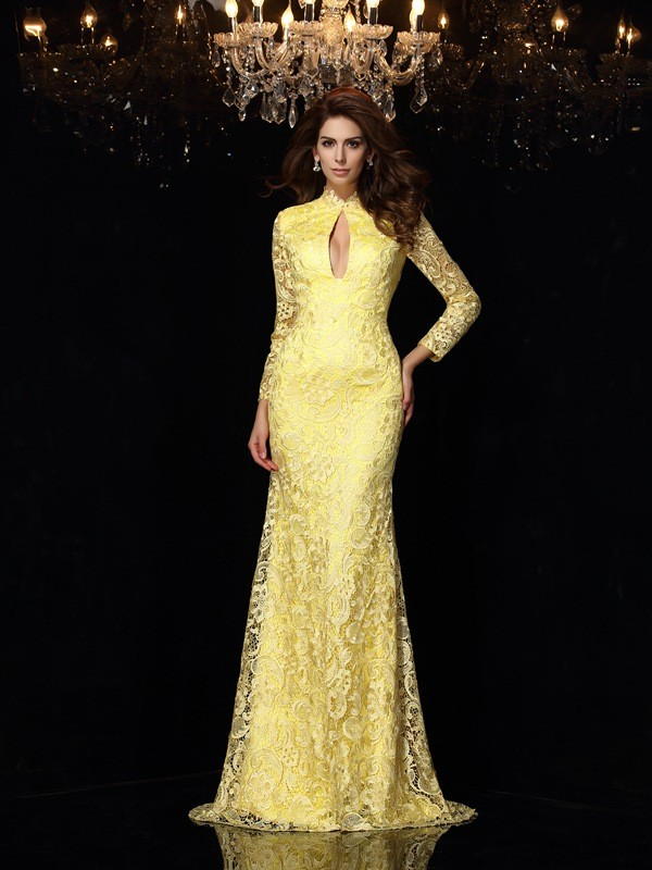 Sheath Satin High Neck Long Sleeves Sweep/Brush Train With Lace Dresses