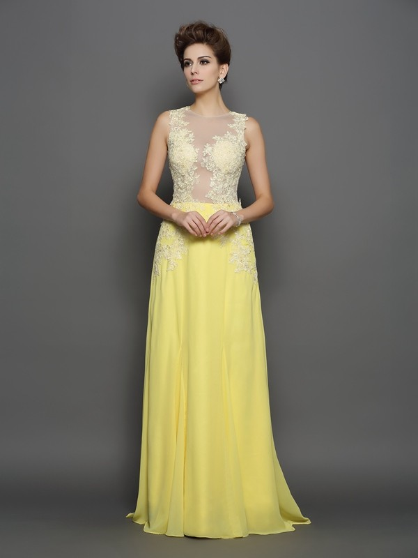 A-Line Chiffon Scoop Sleeveless Sweep/Brush Train With Lace Dresses