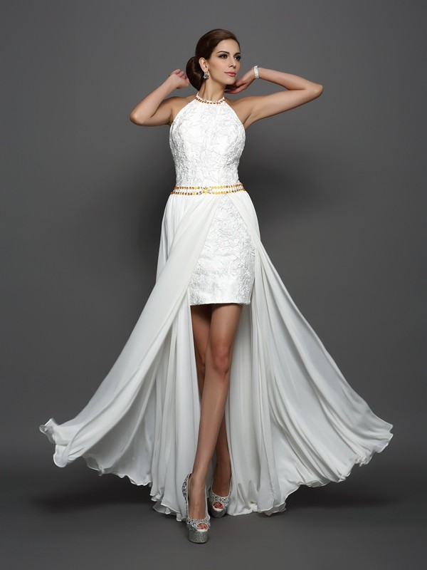 A-Line Chiffon High Neck Sleeveless Chapel Train With Lace Wedding Dresses