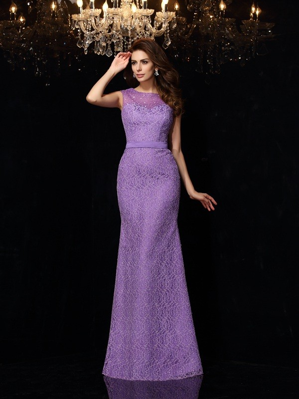 Sheath Satin Scoop Sleeveless Floor-Length With Lace Dresses