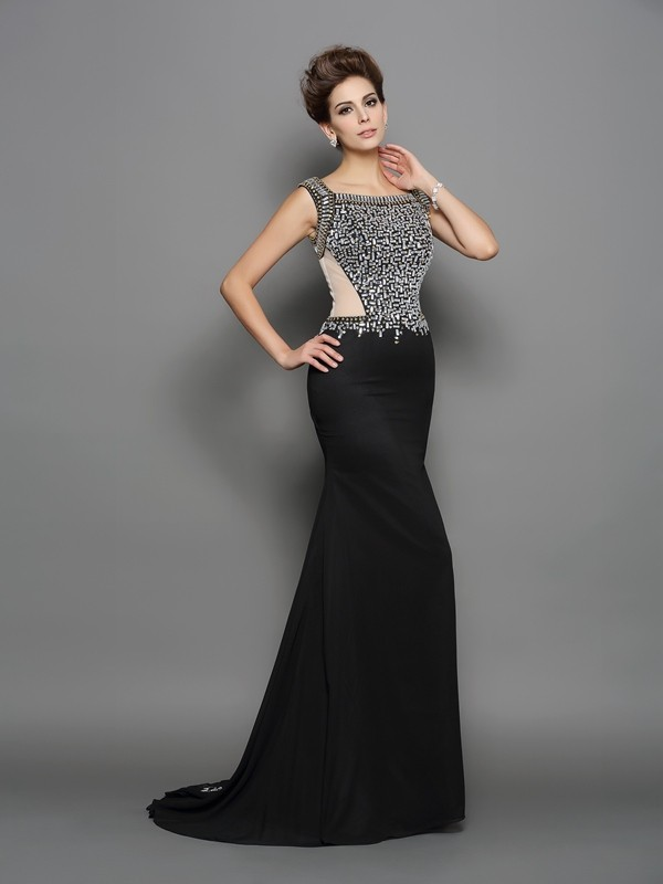 Mermaid Chiffon Square Sleeveless Sweep/Brush Train With Beading Dresses