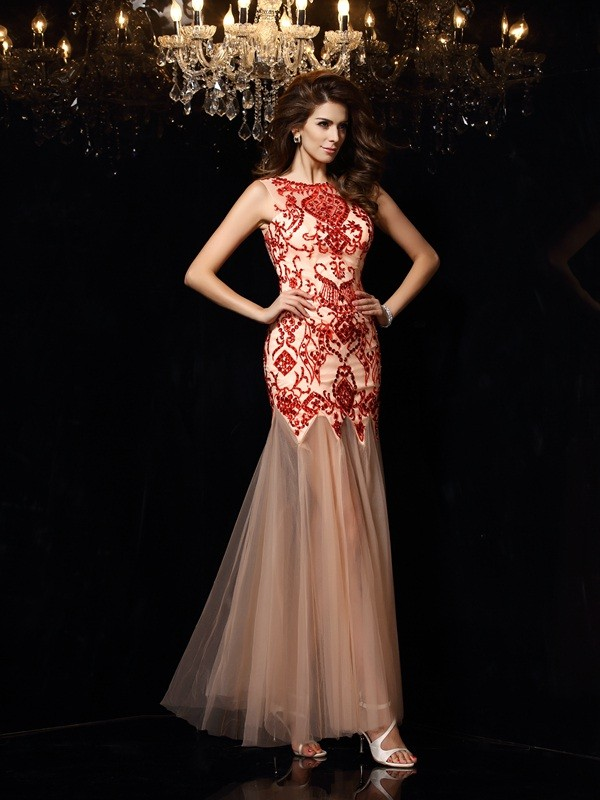 Sheath Satin Scoop Sleeveless Floor-Length With Beading Dresses