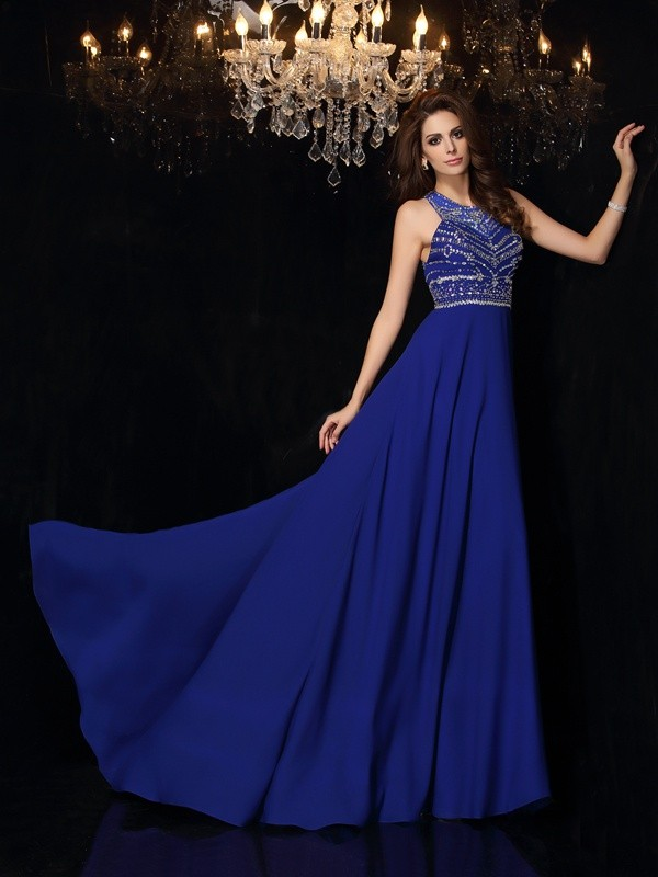 A-Line Chiffon High Neck Sleeveless Sweep/Brush Train With Beading Dresses