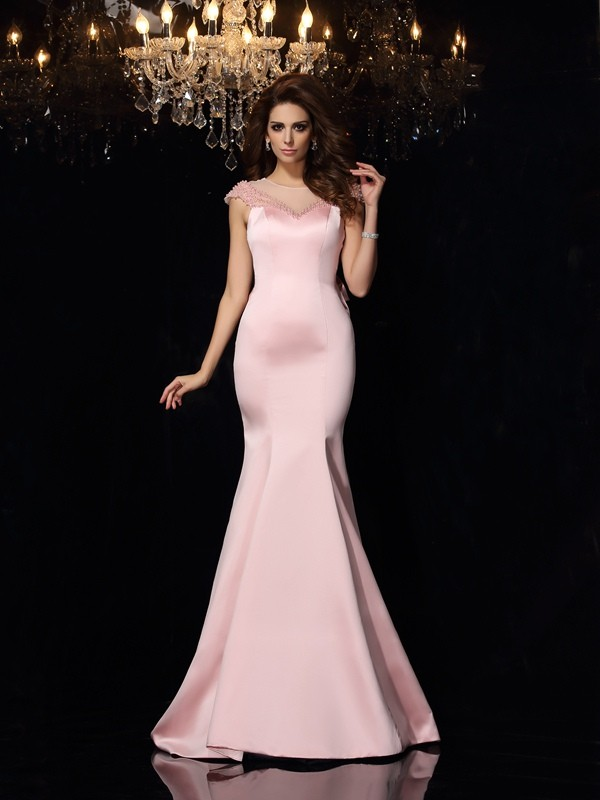 Mermaid Satin Scoop Sleeveless Court Train With Beading Dresses