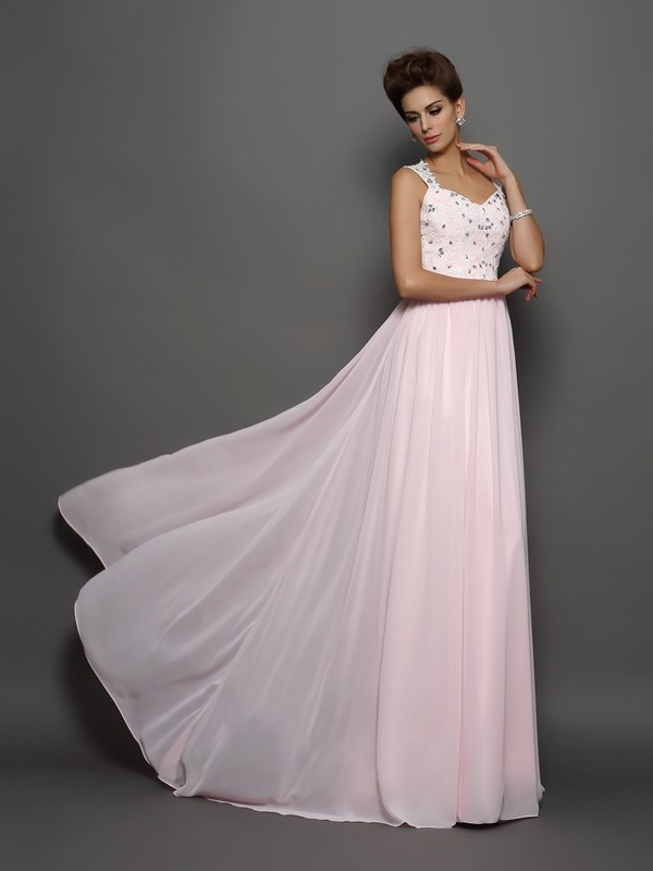 A-Line Chiffon Straps Sleeveless Sweep/Brush Train With Beading Dresses