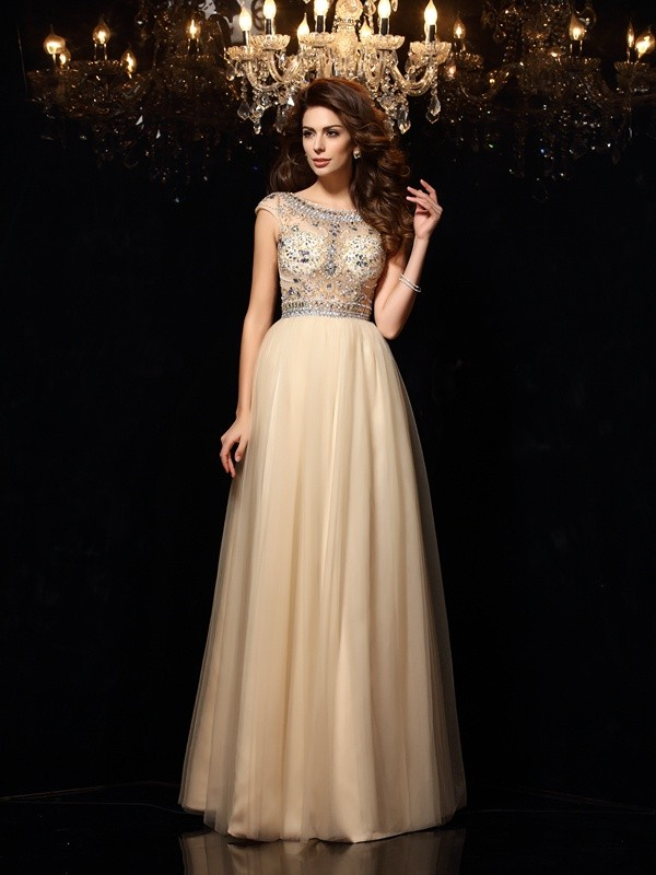 A-Line Net Scoop Sleeveless Floor-Length With Beading Dresses