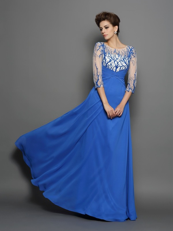 A-Line Chiffon Scoop 1/2 Sleeves Floor-Length With Applique Dresses