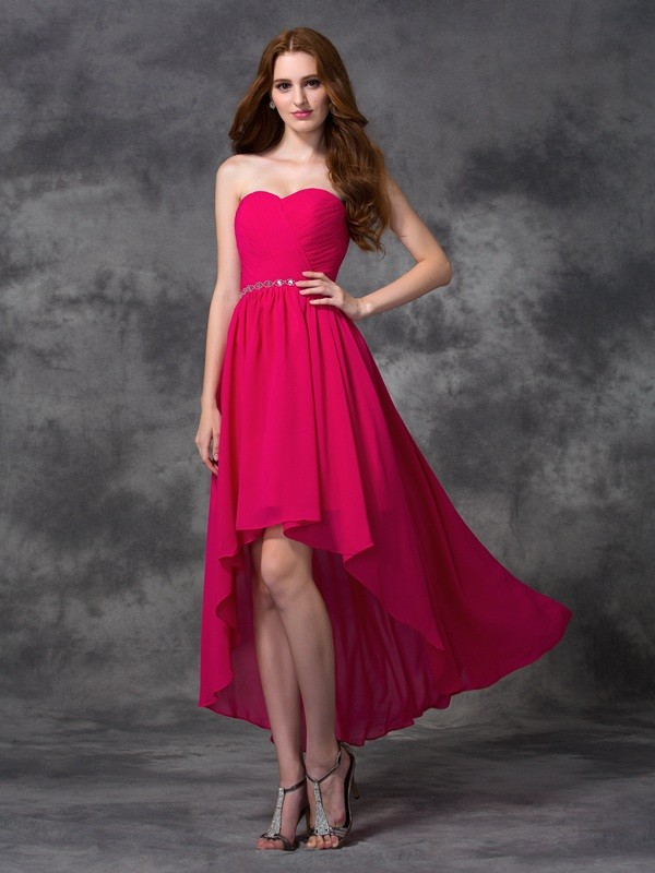 d14f7baa3cd4 A-Line Chiffon Sweetheart Sleeveless Asymmetrical With Beading Bridesmaid  Dresses