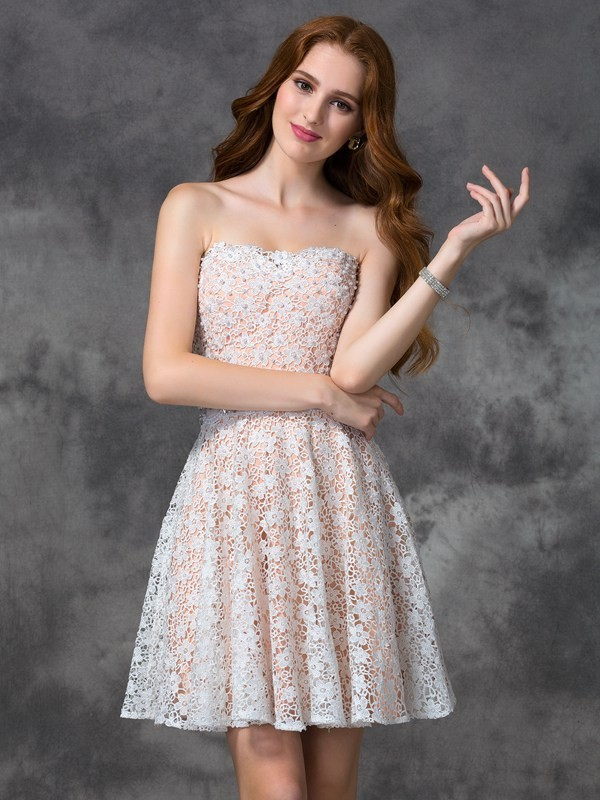 A-Line Lace Sweetheart Sleeveless Short/Mini With Lace Dresses