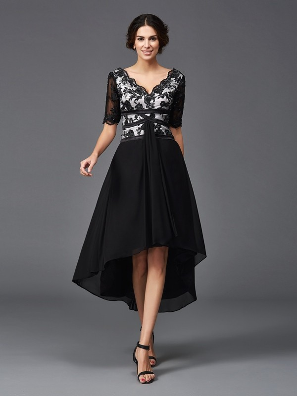 A-Line Chiffon V-neck 1/2 Sleeves Asymmetrical With Lace Dresses