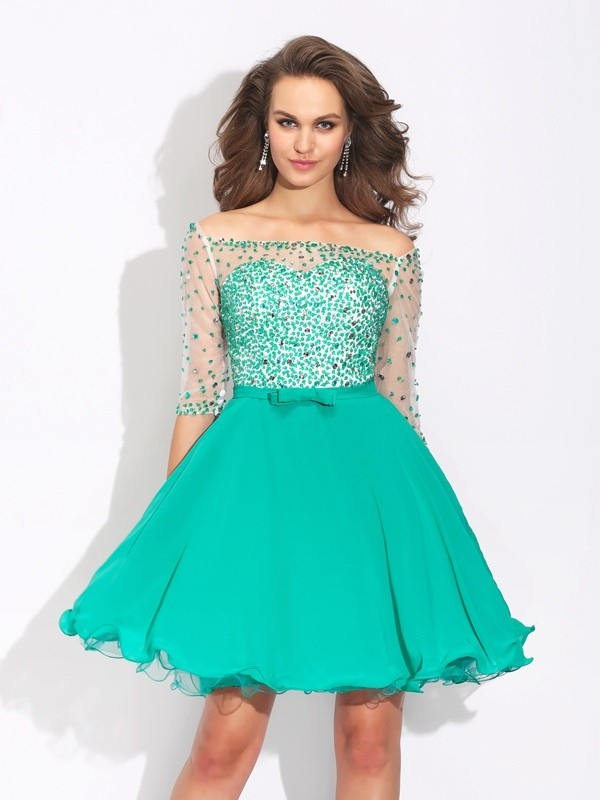 A-Line Chiffon Off-the-Shoulder 1/2 Sleeves Short/Mini With Beading Dresses