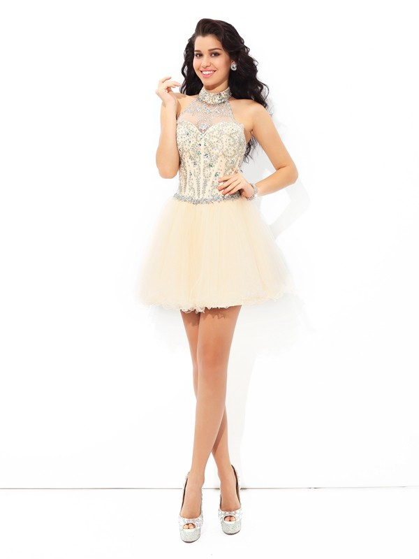 A-Line Satin Halter Sleeveless Short/Mini With Beading Dresses