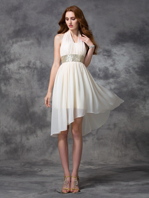 A-Line Chiffon Halter Sleeveless Asymmetrical With Sequin Dresses