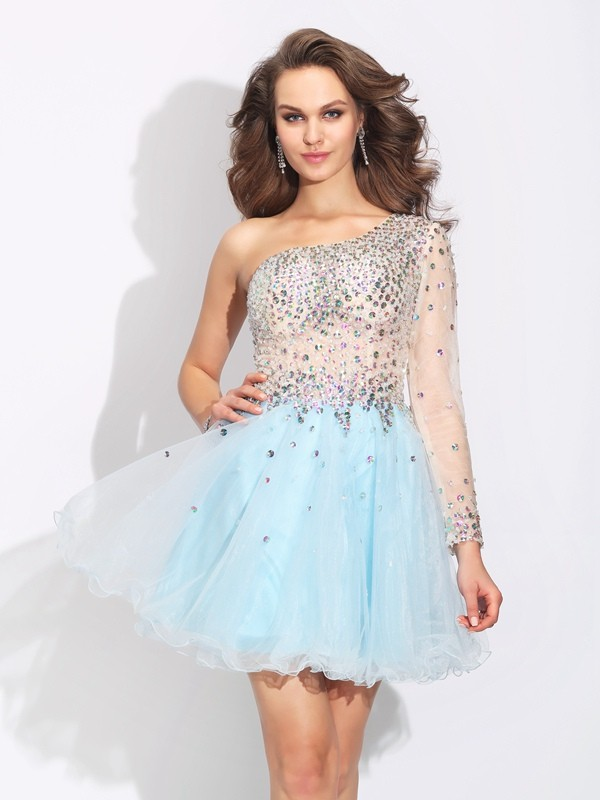 A-Line Elastic Woven Satin One-Shoulder Long Sleeves Short/Mini With Beading Dresses