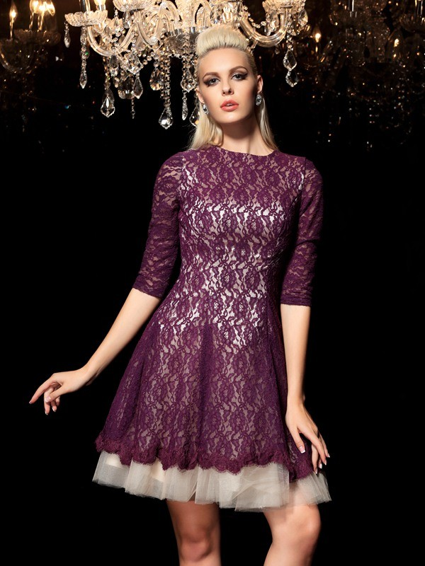 A-Line Lace Sheer Neck 1/2 Sleeves Short/Mini With Lace Dresses
