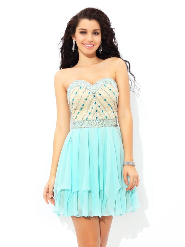 A-Line Chiffon Sweetheart Sleeveless Short/Mini With Beading Dresses