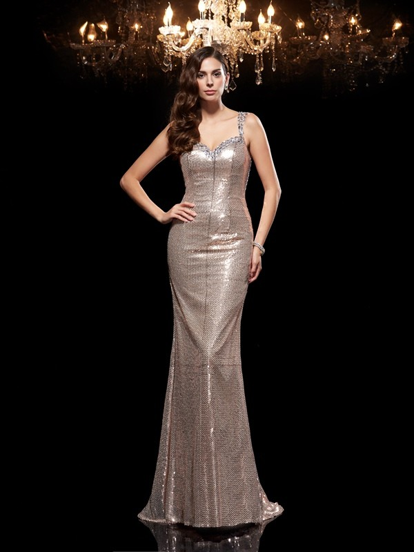 Sheath Sequins Straps Sleeveless Sweep/Brush Train With Beading Dresses