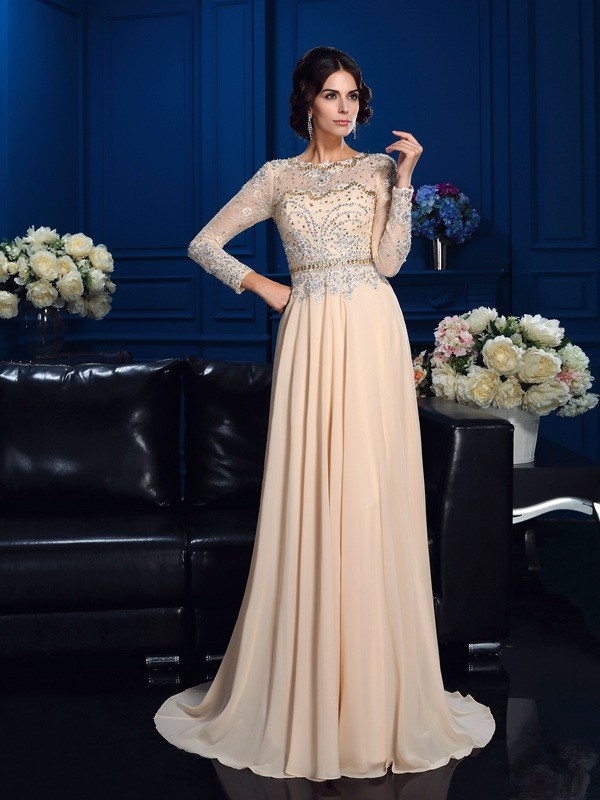 A-Line Chiffon Scoop Long Sleeves Sweep/Brush Train With Beading Mother of the Bride Dresses