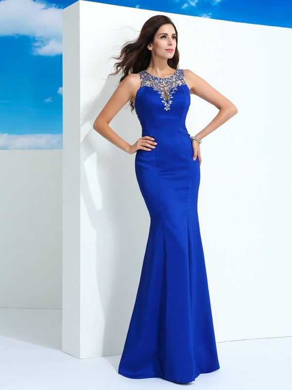 Sheath Chiffon Sheer Neck Sleeveless Floor-Length With Beading Dresses