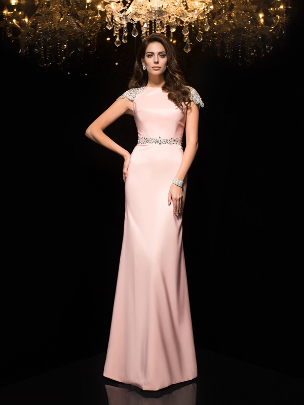 Sheath Satin Jewel Short Sleeves Floor-Length With Beading Dresses