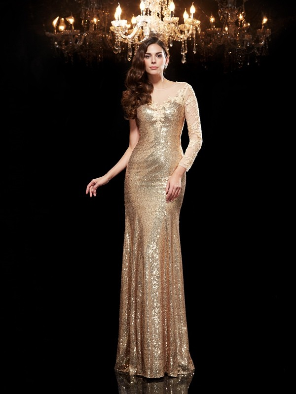 Mermaid Sequins Scoop 3/4 Sleeves Floor-Length With Lace Dresses