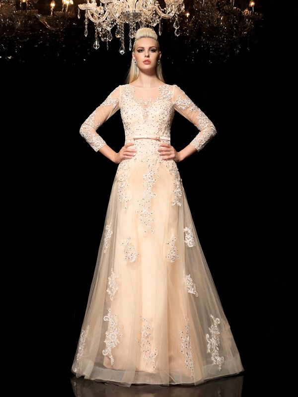 A-Line Satin Sheer Neck Long Sleeves Floor-Length With Applique Dresses