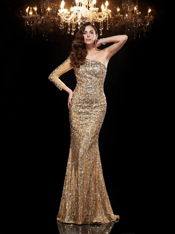 Mermaid Sequins One-Shoulder 3/4 Sleeves Floor-Length With Beading Dresses