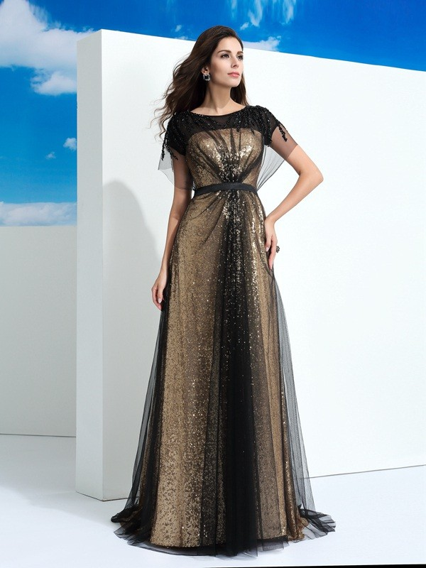 A-Line Net Sheer Neck Short Sleeves Floor-Length With Paillette Dresses