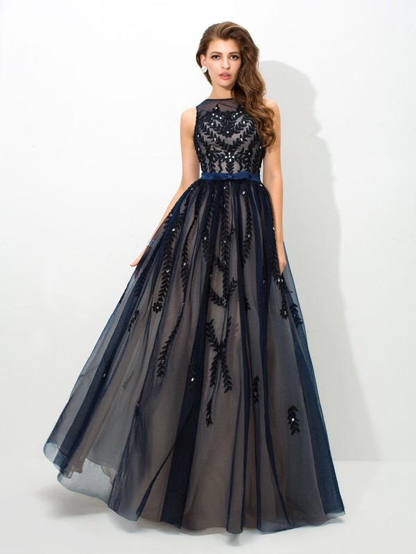 A-Line Tulle Sheer Neck Sleeveless Floor-Length With Applique Dresses
