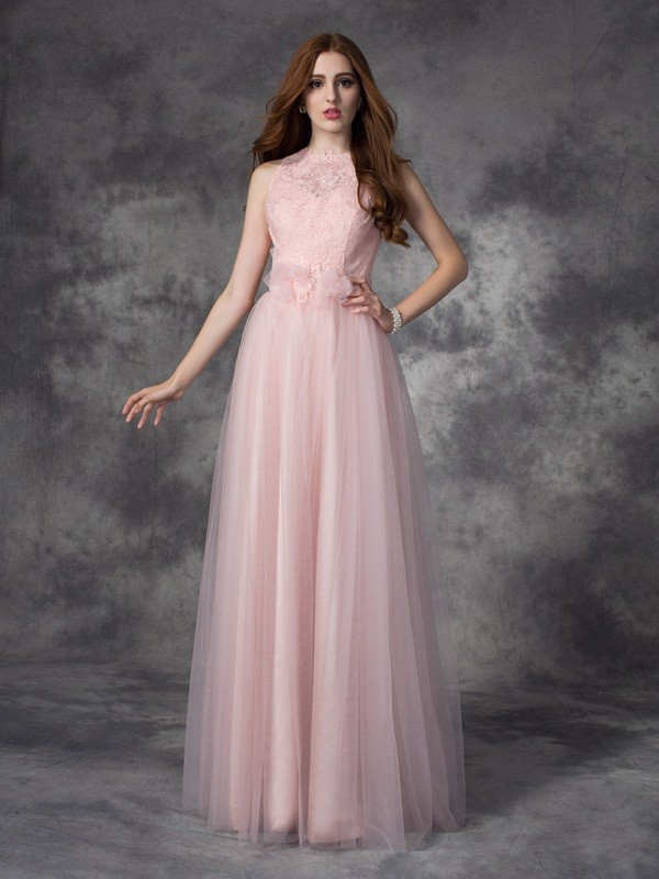 A-Line Net Bateau Sleeveless Floor-Length With Hand-Made Flower Dresses
