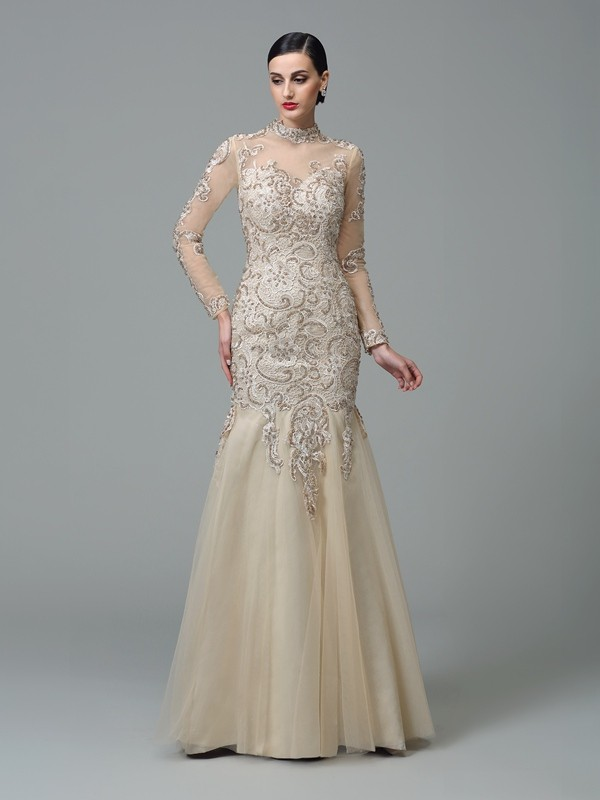 Sheath Net High Neck Long Sleeves Floor-Length With Applique Dresses