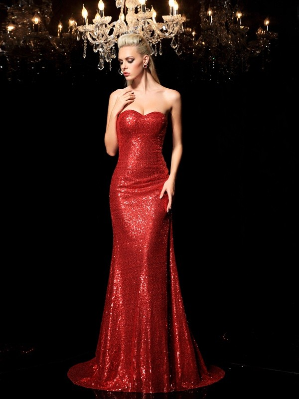 Sheath Sequins Sweetheart Sleeveless Sweep/Brush Train With Sequin Dresses