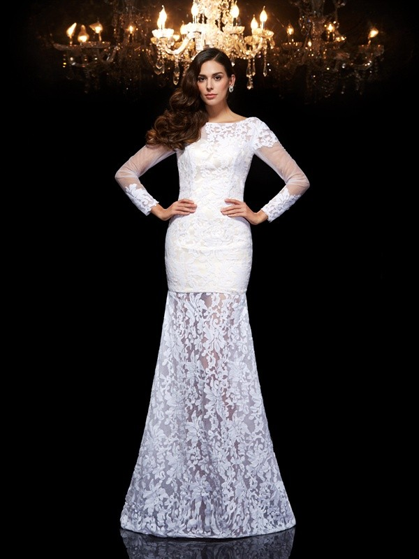 Mermaid Lace Scoop 3/4 Sleeves Floor-Length With Lace Dresses