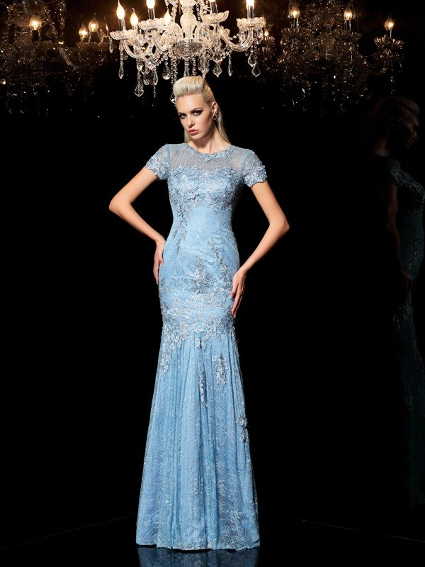 Sheath Lace Sheer Neck Short Sleeves Floor-Length With Applique Dresses
