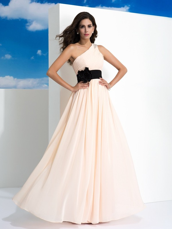 A-Line Chiffon One-Shoulder Sleeveless Floor-Length With Sash/Ribbon/Belt Dresses