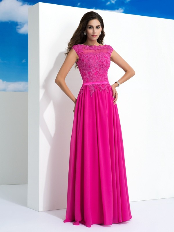 A-Line Chiffon Sheer Neck Sleeveless Floor-Length With Lace Dresses